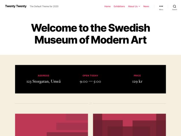 capture d'écran de la page d'accueil du nouveau thème par défaut de wordpress 5.3